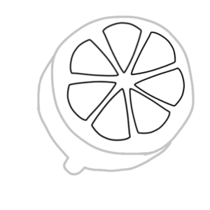 レモンのボールペンイラストの簡単な書き方